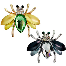 Irregular Green Fly Mosquitoes Brooch Crystal Insect Bee Brooches for Women Shirt Collar Pins Suits Corsages Jewelry