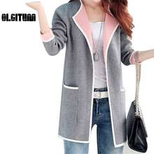 OLGITUM 2017 New Winter women sweater All-match Patchwork Full sleeve Slim Pocket Knitted Cardigan Sweater Women Sweaters SW174