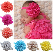 2016 baby infant headbands baby hollow Chiffon Flowers elastic headband children girl hair accessories 10pcs/lot