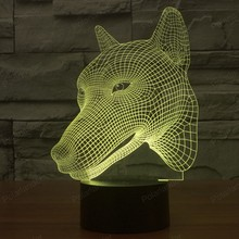 3D Dog Head Dimensional LED Illusion Lamp Visual Effect USB Touch Switch 7 Colors Changes Nightlight Lights