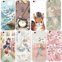 Charming Flower Elegant Lovely Girl Cat Squirrel Phone Case for Apple iPhone 5 5s SE 6 6s Plus Plastic Ultra Thin PC Cover Capa