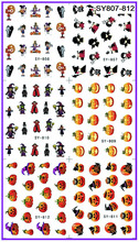 6 PACK/ LOT  GLITTER WATER DECAL NAIL ART NAIL STICKER HALLOWEEN GHOST PUMPKIN WITCH SY807-812