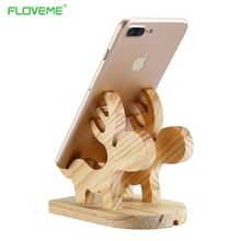 FLOVEME Lovely Moose Wood Holder 100% Natural Wooden Cute Phone Tablet Desk Stand Holder Charging Dock For iPhone iPad Samsung(China)