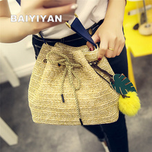 Drawstring Women's Straw Bucket Bag Summer Woven Shoulder Bags Shopping Purse Handbag Straw Handbags Travel Bag For Vacation