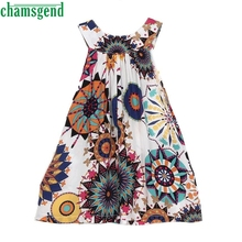 2017 Summer girl princess dress wedding party children's clothing lotus leaf sleeveless personality harness floral dress P30(China)