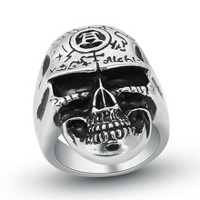 Hight Quality Stainless Steel Punk Style Skull Head Finger Ring For Men Fashion Skeleton Biker Rings Male Jewelry Wholesale A006