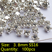 100pcs Crystals Strass Silver Base Rhinestones Clear Crystal SS16 DIY Glass Stones Sew On Rhinestones In Claw