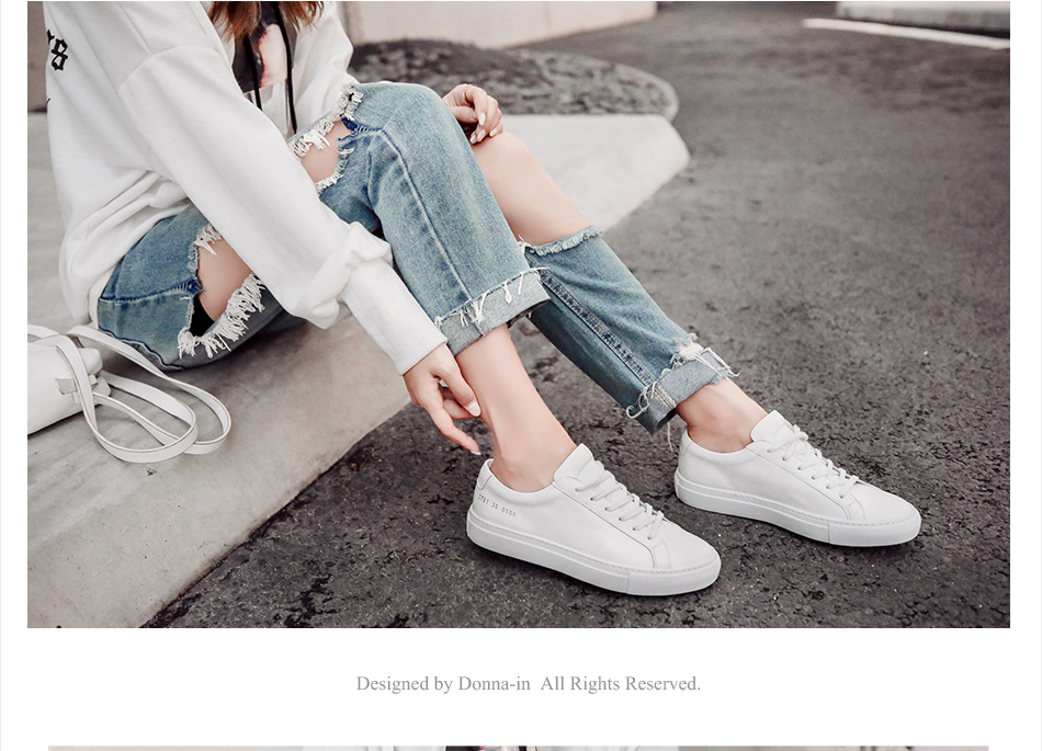 Donna-in Sneakers Women Genuine Leather Flat Low Heel Platform Ladies Lace Up Fashion Breathable Shoes Women 2018 White Nude (2)