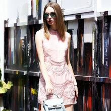 OYCP Women Handmade Crochet Dress ,Lace Embroidery Hollow Out Dress Ladies Sexy Pink Sleeveless Dress Sundress 2017 Summer Style