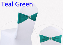 Teal colour Crown buckle lycra sash for wedding chairs decoration spandex band stretch bow tie lycra ribbon belt on sale(China)
