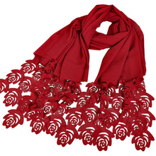 2017 Laser Cut Hollow Floral Bubble Chiffon Shawl Scarf Plain Solid Long Thick Beach Wrap Lady Hijab Snood Echarpe Muslim Sjaal(China)