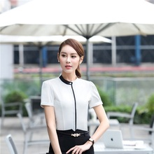 Summer Chiffon Blouses Shirt Short Sleeve Formal OL Styles Ladies Blouse Female Tops Work Wear Uniform Styles Clothes Blusa(China)