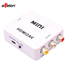 Effelon Mini HD Video Converter Box RCA CVSB L/R AV to HDMI Converter Adapter 1080P HDMI2AV NTSC PAL Output HDMI TO AV Adapter