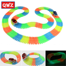 QWZ New Magic Tracks Bend Flex Glow in the Dark Assembly Toy 162/165/220/240pcs DIY Race Track + 1pc LED Car Children Toy