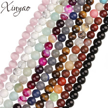 XINYAO 4 6 8 10 mm Natural Stone Beads Round Tiger Eye Agate Created Rose Quartz Opal Beads For Jewelry Making 40cm/Strand