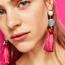Europe Ethnic simulated pearl Drop Earring Elegant Big Fringing Stripe Pompom Silk Stardust Tassel Earring Pendientes for women(China)