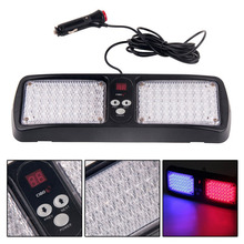 Car Truck Blue Red 86 LED Visor Strobe Flash Lighting Emergency Light Lamp Digital Display 12 Flash Modes Warning Light Panel(China)