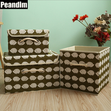 PEANDIM Large 3pcs/set Bedding Storage Box Cotton Linen Fabric Clothing Pajamas Blankets Organizer Child Toys Container Holder(China)