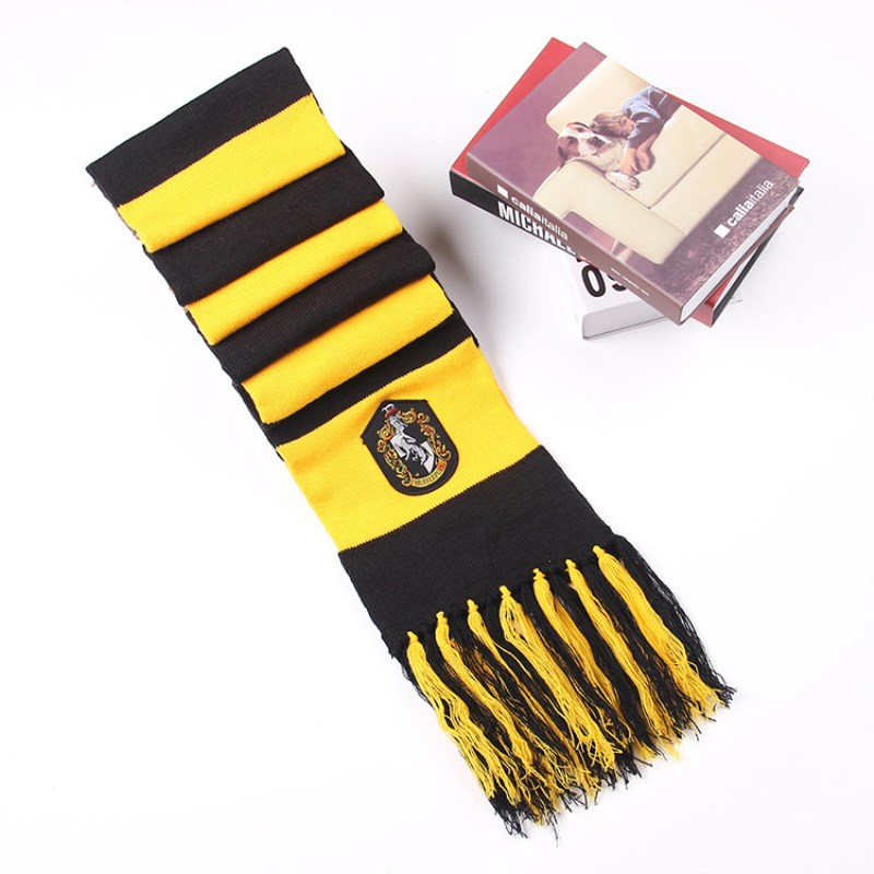 Child Boy Girl Scarves Harri Potter Cosplay Costume Series Cotton Scarves Cute Wraps Badge Personality Knit Scarves Wholesale