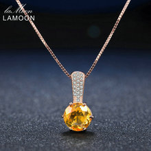 Lamoon 8mm 2ct Natural Round Citrine 925 Sterling Silver Chain Pendant Necklace Women Jewelry S925 LMNI041(China)