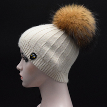 Big Real Raccoon fur pompom Beanies Women winter Knitted Cap Solid Color Skullies Angora wool knit Hats Bonnet female Hat Gorro