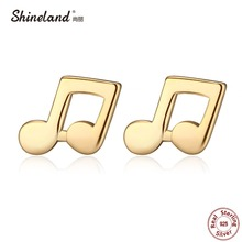 Shineland Fashion 925 sterling silver Lovely Music Note Stud Earrings Pendientes Ear Charm Earring Women Hypoallergenic Brincos