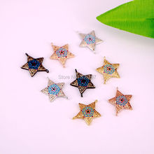 10Pcs CZ Cubic Zirconia Crystal Micro Pave Star Connector Link Beads Charms Women Jewelry Accessories(China)
