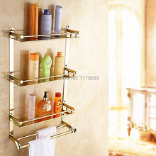 wall mounted stainless steel towel rack,Gold-plated stainless steel bathroom shelving,3 layer dual towel bars rack,J16375(China)