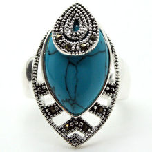 30*18mm RARE VINTAGE 925 SILVER BLUE TURQUOISE MARCASITE DROP RING SZ 7/8/9/10