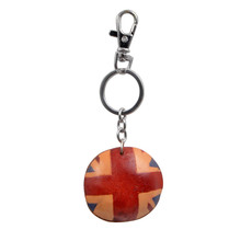 Youngtulip Handmade United Kingdom Flag Style Key Chains Unisex Cowhide Keychain Car and Women Handbag Hanging Cow Leather Gift(China)