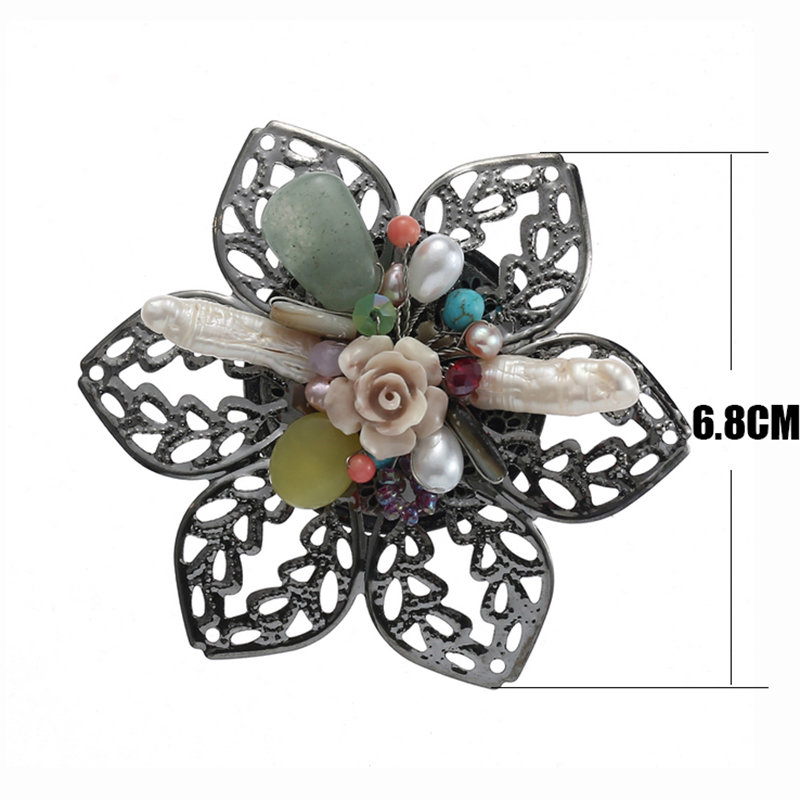 TDQUEEN Brooches for Women Natural Freshwater Pearl Brooch Antique Silver Plated Baroque Flower Big Pins and Brooches SIZE