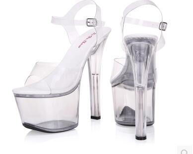 Shoes Woman Sandals High Heels 17CM High Nightclub Transparent Crystal Shoes Wedding Shoes  Bride Large Size Sandals Size 34-44<br>