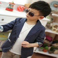 Elegant Cool Boys Cotton Suit Plaid Dots Printed Blazer Kids Jacket Coat Casual Outwear 2-7Y