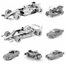 3D puzzles for adults metal DIY Classic cars, motorcycles, taxis Model Building set educational toys kids diy craft kits airco(China)