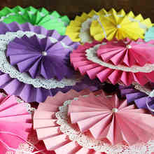 LS Free Shipping 1pcs/Lot 25cm holiday supplies Paper Fan Wholesale/Retai Tissue Paper Fan Crafts Party Wedding decoration