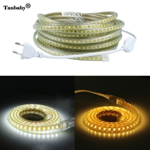 220V SMD 2835 Flexible Led Strip Light 1M/2M/3M/4M/5M/6M/7M/8M/9M/10M/15M/20M+Power Plug,120leds/m IP65 Waterproof led Ribbon(China)