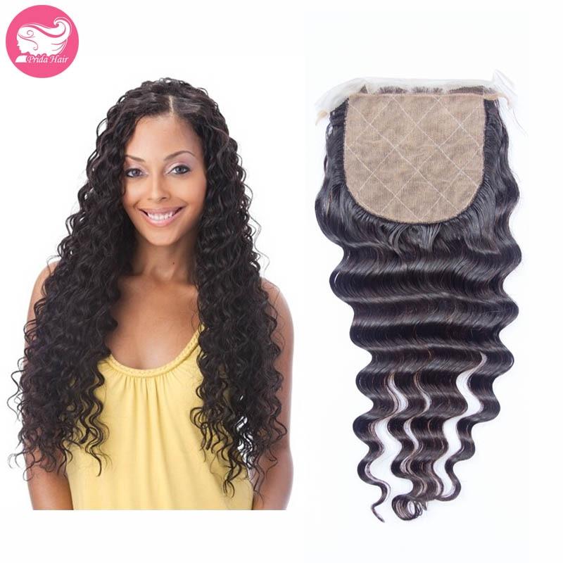Peruvian Deep Wave Hair Silk Base Closure Natural Color 7A Peruvian Virgin Human Hair Silk Base Lace Closures 4x4 Bleached Knots<br><br>Aliexpress