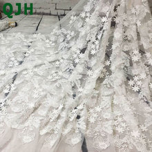 1yard 91cm*130cm,QJH Butterfly patter Embroidered Net Lace Fabric summer New Style transparent milk silk Apparel Sewing&Fabric
