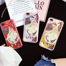Korea Super Fashion Travelling Hat Sun Hat Shimmering Powder Quicksand Plastic Case Cover For Iphone6 6S 6Plus 7 7Plus