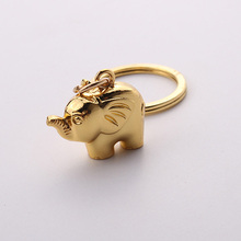 Fashion Cute 3D Elephant Keychain Gold Animal Metal Key Chain Keyring for Women Bag Phone Charms Pendant Jewelry(China)