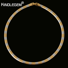 Dubai Famous Brand Silver Pure Gold Color Chain Necklace Choker For Women African Jewelry Italy Quality No Change Color 40CM(China)
