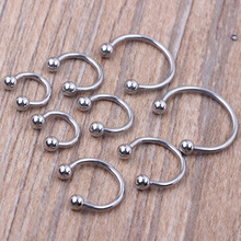 Silver Nose Piercing 100pcs 6-14mm mix Stainless steel eyebrow Labret bar Horseshoe Nose ring Body jewelry(China)
