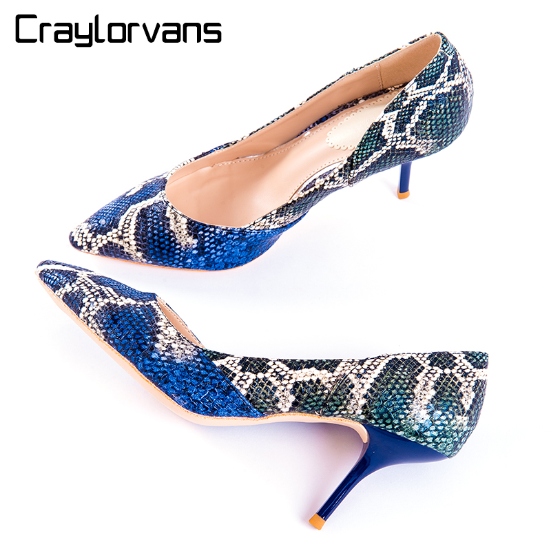 Craylorvans Top Quality Women Pumps Blue Mix Green Color Pointed High Heels Snake Printing 7.5cm Heel Height Elegant Women Shoes<br>
