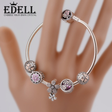 Buy EDELL Genuine 100% 925 Sterling Silver Bracelet Set Women Spring flowers Star Original birthday Gift charm Jewelry for $75.00 in AliExpress store