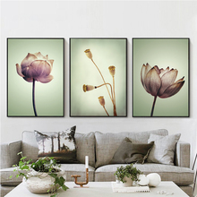 Bianche Wall Modern Chinese Lotus Floral Features Canvas Painting Art Print Poster Image Mural House Bedroom Decoration