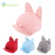 Cat Baby Caps With Ears Dots Solid Baseball Hats For Boys Girls Spring Summer  Sun Hat Baby Net Caps 6-24M Baby Girls Clothing
