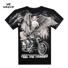 Summer High Quality 3D Harley Motorcycle And Eagle Printed T Shirt Cotton Short Sleeve O-Neck T-shirt Men M-XXXL,YK UNCLE