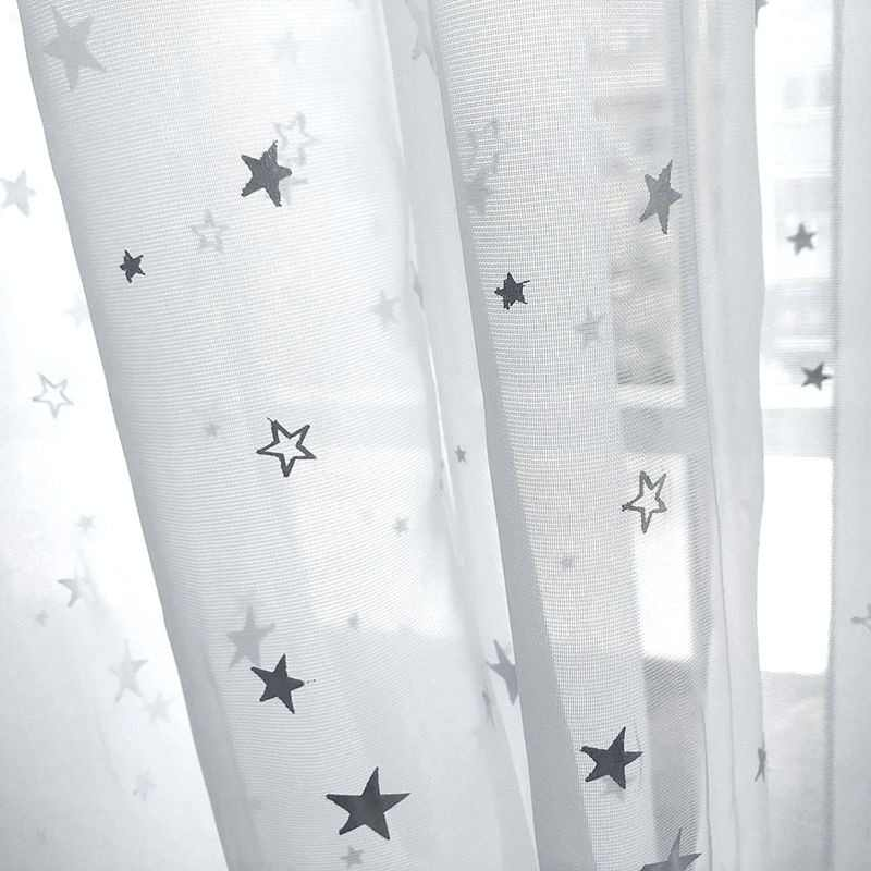 White Shiny Sliver Star Tulle Curtains For Living Room Modren All-match Yarn with Window Drapes Sheer for the Bedroom Decor -40