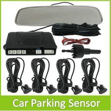 LIGHTHEART Auto Car Parking Radar System With Mirror Rearview Monitor + 4 Sensors  For Vehicle Reversing Backup Free Shipping