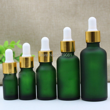 New 5ml,10ml,15ml,30ml,50ml,Green Frosted Glass bottles With Dropper,Empty Essential Oil Glass Vials Gold Rim White rubber